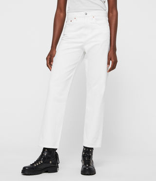 Mari High-Rise Cropped Boyfriend Jeans, White