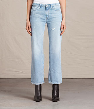 Mujer Belle Cropped Flare Jeans (LIGHT INDIGO BLUE)