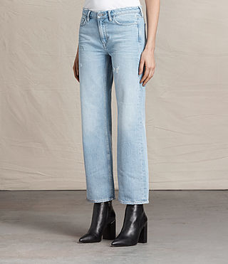 Mujer Vaqueros Belle Cropped Flare (LIGHT INDIGO BLUE) - product_image_alt_text_2