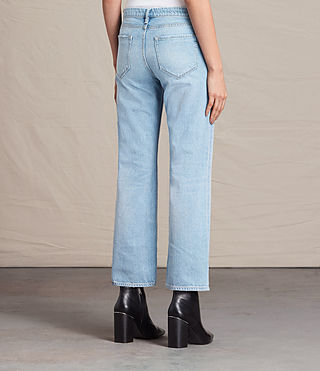 Mujer Vaqueros Belle Cropped Flare (LIGHT INDIGO BLUE) - product_image_alt_text_3