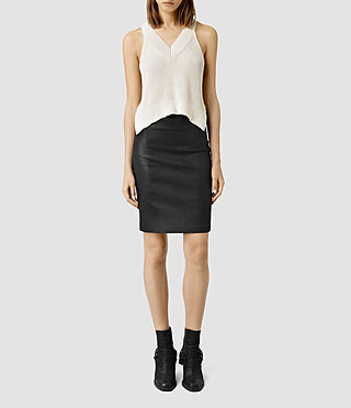Womens Metal Pencil Skirt (Black) - product_image_alt_text_1