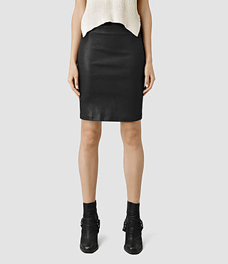 Womens Metal Pencil Skirt (Black) - product_image_alt_text_2
