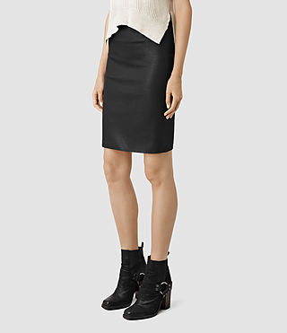 Womens Metal Pencil Skirt (Black) - product_image_alt_text_3