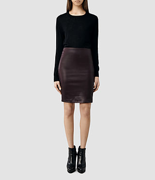 Womens Metal Pencil Skirt (Mulberry)