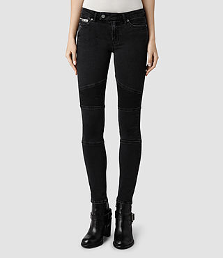 Womens Biker Jeans / Washed Black (Washed Black)