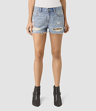 Womens Kate Distressed Shorts (LIGHT INDIGO BLUE) - product_image_alt_text_3