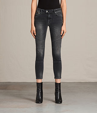 Womens Biker Cropped Jeans (Dark Grey) - product_image_alt_text_1