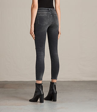 Womens Biker Cropped Jeans (Dark Grey) - product_image_alt_text_2