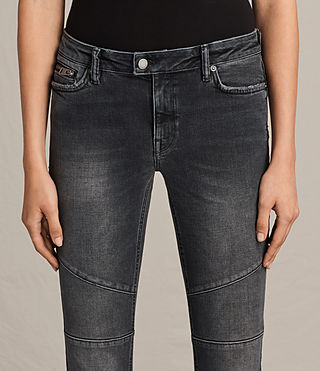 Women's Biker Cropped Jeans (Dark Grey) - Image 3