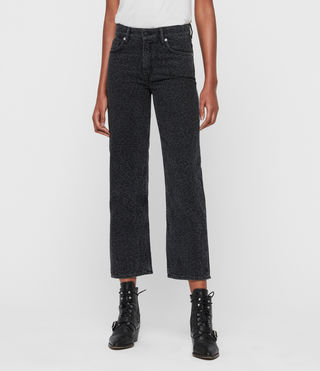 Ava Leopard Straight High-Rise Jeans, Washed Black