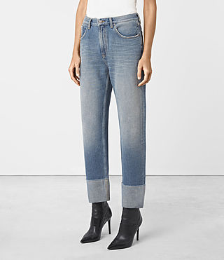 Womens Jaden Boyfriend Turn Up Jeans (Indigo Blue)