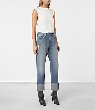 Femmes Jaden Boyfriend Turn Up Jeans (Indigo Blue) - product_image_alt_text_2