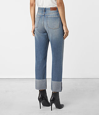 Women's Jaden Boyfriend Turn Up Jeans (Indigo Blue) - product_image_alt_text_3