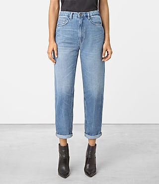 Women's Nat High Waist Boyfriend Jeans (LIGHT INDIGO BLUE)
