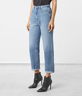 Femmes Nat High Waist Boyfriend Jeans (LIGHT INDIGO BLUE) - product_image_alt_text_2