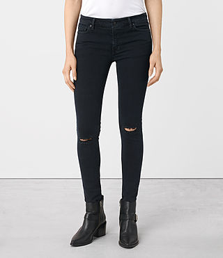 Womens Mast Knee Destroy Jeans (DARK INDIGO BLUE)