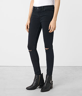Women's Mast Knee Destroy Jeans (DARK INDIGO BLUE) - product_image_alt_text_2