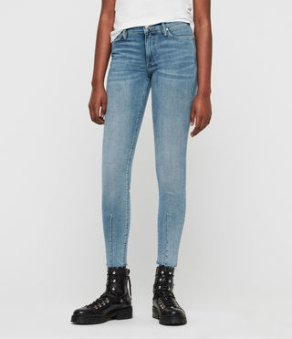Grace Dart Ankle Skinny Mid-Rise Jeans, Light Indigo Blue