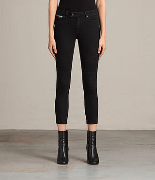 Womens Biker Cropped Jeans (Washed Black) - Image 1