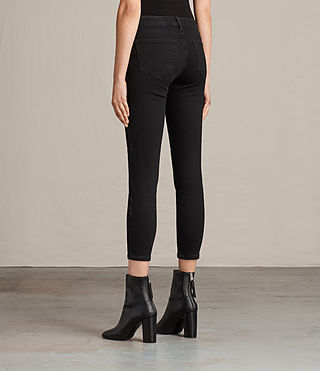 Womens Biker Cropped Jeans (Washed Black) - product_image_alt_text_2