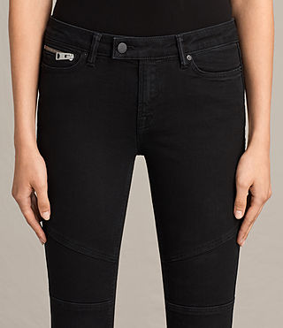 Womens Biker Cropped Jeans (Washed Black) - Image 3