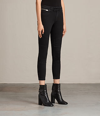 Womens Biker Cropped Jeans (Washed Black) - Image 4