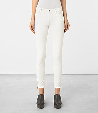 Womens Mast Ankle Zip Jeans (Off White)