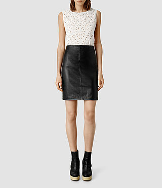 Womens Lucille Leather Skirt (Black)