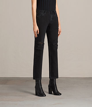 Women's Muse Slim Destroys Jeans (Washed Black) - product_image_alt_text_4