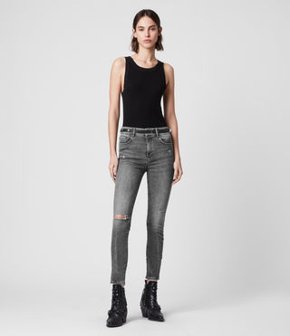 Miller Cropped Mid-Rise Superstretch Shaping Skinny Jeans, Washed Grey