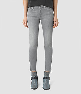 Donne Mast Ankle Zip Jeans (Pale Grey)