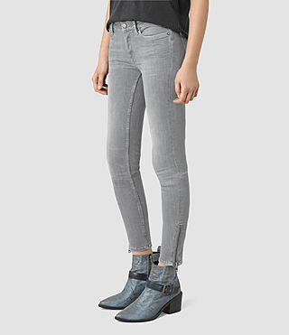 Womens Mast Ankle Zip Jeans (Pale Grey) - product_image_alt_text_2