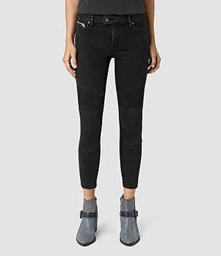 Damen Biker Cropped Jeans (Washed Black)