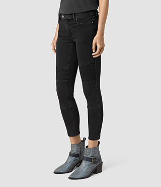 Women's Biker Cropped Jeans (Washed Black) - product_image_alt_text_2