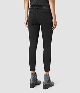 Women's Biker Cropped Jeans (Washed Black) - product_image_alt_text_3