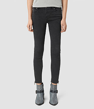 Donne Mast Ankle Zip Jeans (Washed Black)