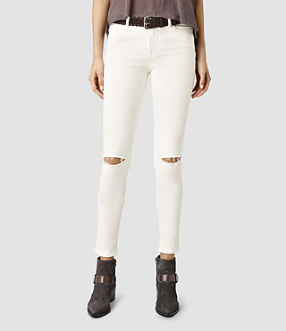 Womens Grace Slashed Jeans (Chalk White)