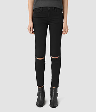Womens Grace Slashed Jeans (Jet Black)