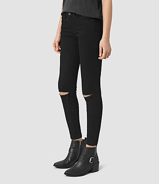 Womens Grace Slashed Jeans (Jet Black) - product_image_alt_text_2