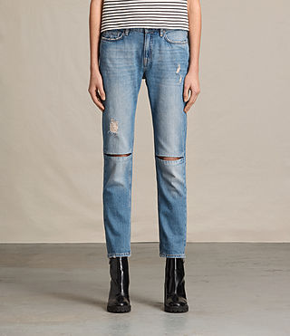 Womens Slit Boyfriend Jeans (LIGHT INDIGO BLUE)