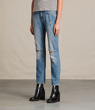 Donne Jeans Slit Boyfriend (LIGHT INDIGO BLUE) - product_image_alt_text_3