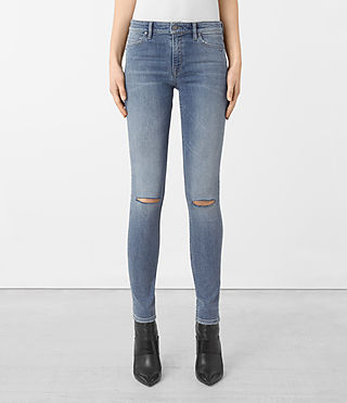 Damen Mast Slashed Jeans (Indigo Blue)