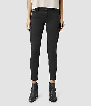 Womens Gwen Skinny Cargo Jeans (Washed Black)