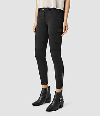 Women's Gwen Skinny Cargo Jeans (Washed Black) - product_image_alt_text_2
