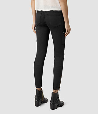 Womens Gwen Skinny Cargo Jeans (Washed Black) - product_image_alt_text_3