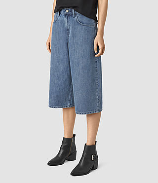 Damen Mitchy Denim Culotte Shorts (Indigo Blue)