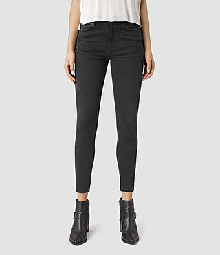 Womens Nim Highwaisted Crop Jeans (Washed Black)