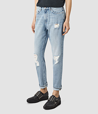 Womens Amy Girlfriend Jeans (WSHD LGHT INDG BLU)