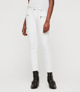 Biker Cropped Skinny Low-Rise Jeans, White