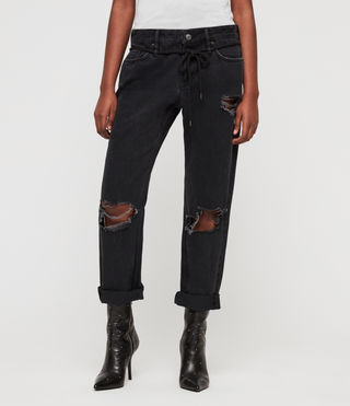 Alana Boyfriend Low-Rise Ripped Jeans, Washed Black